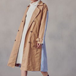 Camel Color Block Raincoat