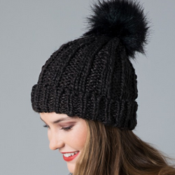 dark brown cable knit pom pom beanie