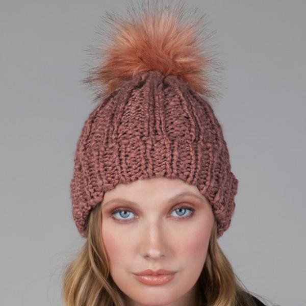 Terracotta cable knit pom pom beanie