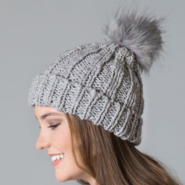 Light gray cable knit pom pom beanie
