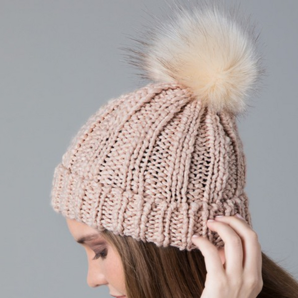 Peach cable knit pom pom beanie