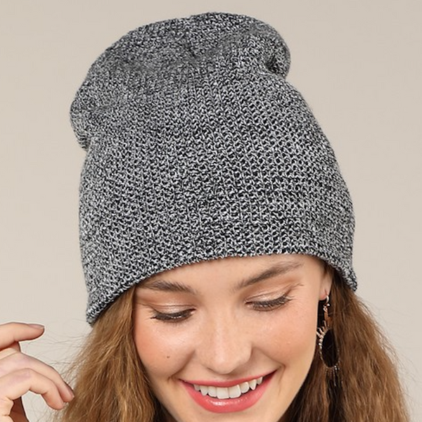 black + white soft & slouchy beanie
