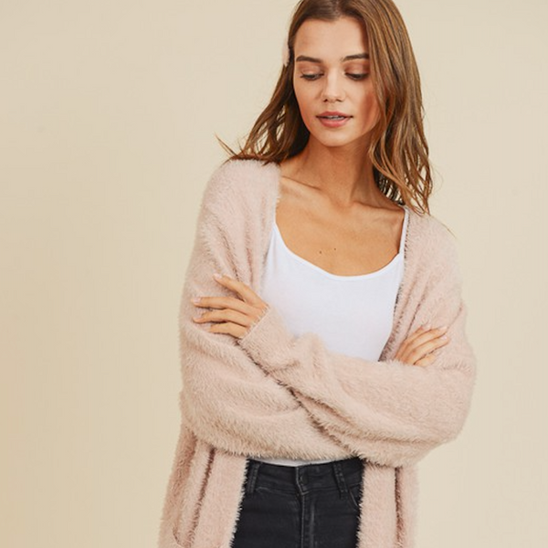 Fuzzy Blush Cardigan