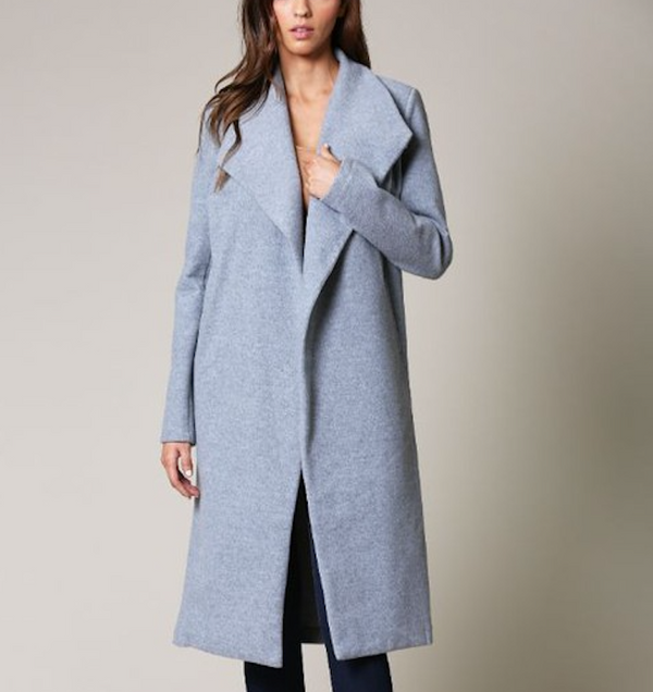 Long Gray Lapel Coat