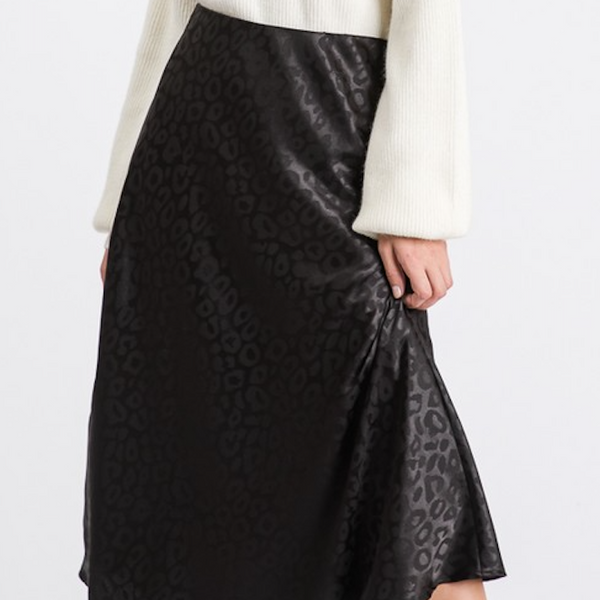 Black Leopard Satin Midi Skirt