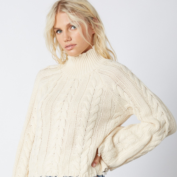 Ivory Distressed Knit Sweater