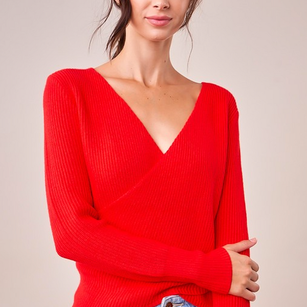 Cherry Red Wrap Sweater