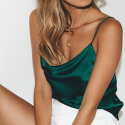 Emerald Green Satin Cowl Neck Tank