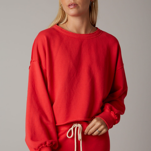 Red French Terry Pull-Over Crew Neck