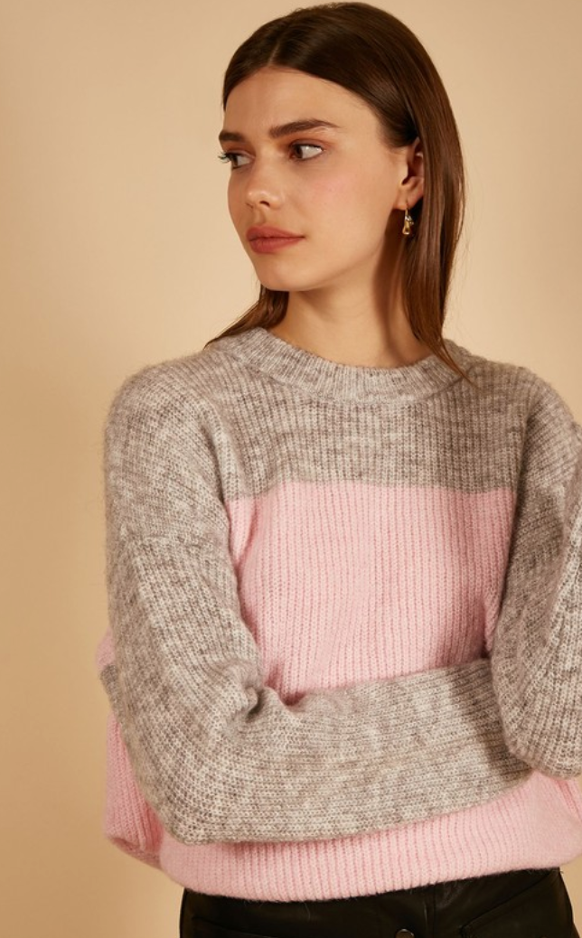 Pink & Gray Color Block Sweater
