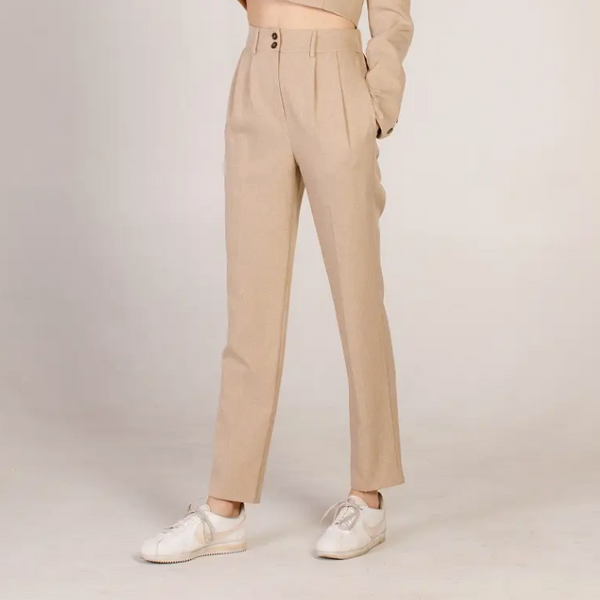 Beige Pleated Tapered Pant