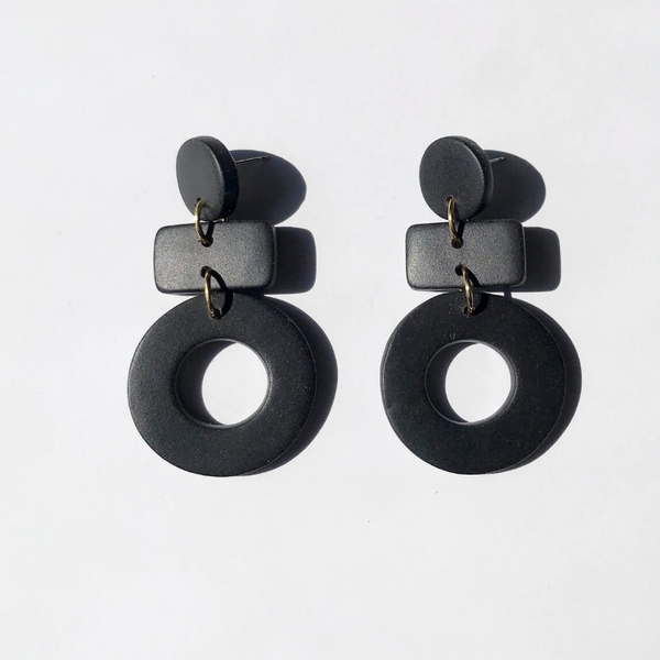 Black Mini Dangle Earrings