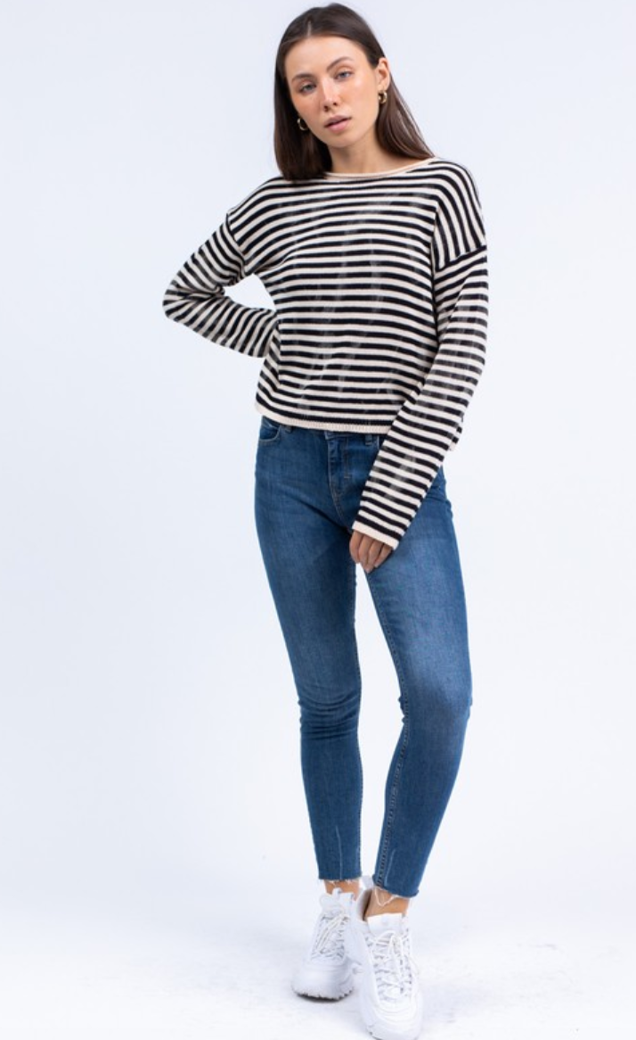 Spot Dye Striped Crew Neck