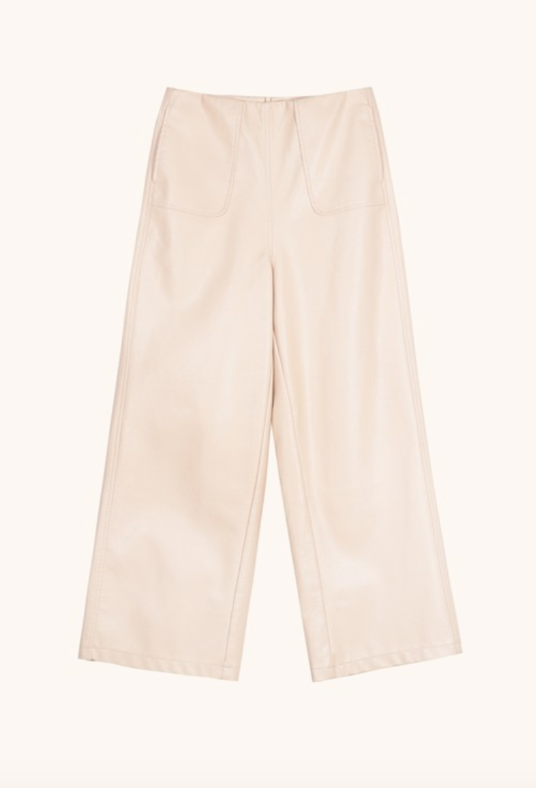 Cream Vegan Leather Wide Leg Pants