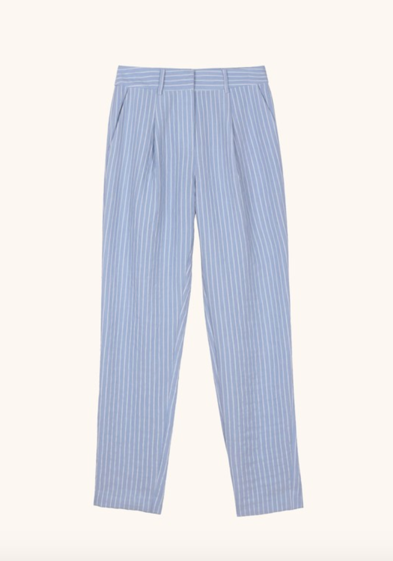 Blue Striped Woven Pants
