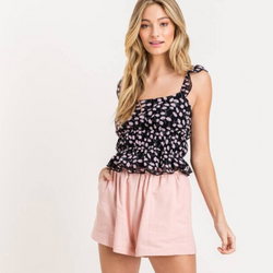 Floral Smocked Ruffle Tank