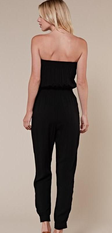 black smocked jumpsuit