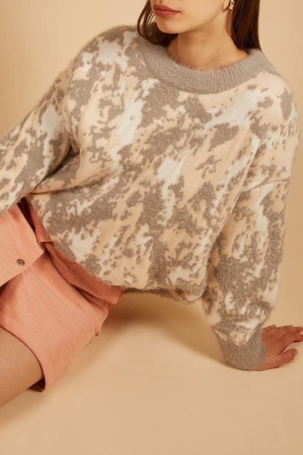 Oversized Pink Camo Sweater