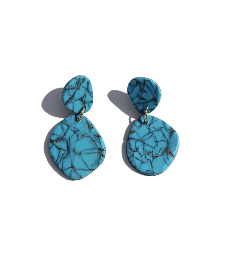 Faux Turquoise Stone Earrings