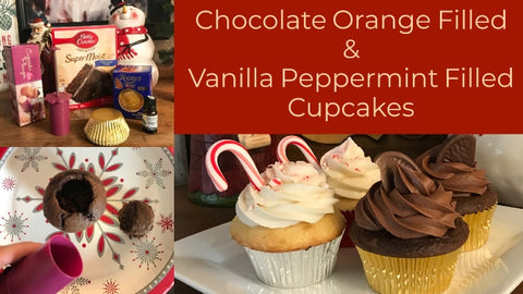 Cream Filled Chocolate Orange and Peppermint Cupcakes