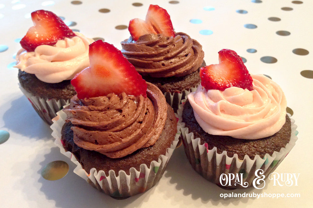 Chocolate Strawberry Cream Filled Cupcakes