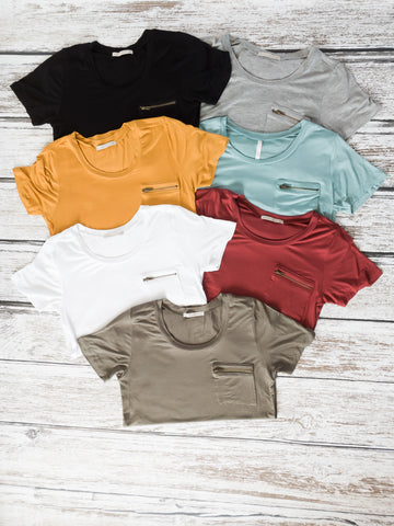 Zipper Pocket Tee | 7 Colors