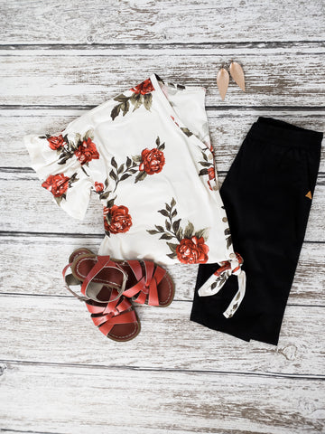 Pamela Red Floral Top | 1X-3X