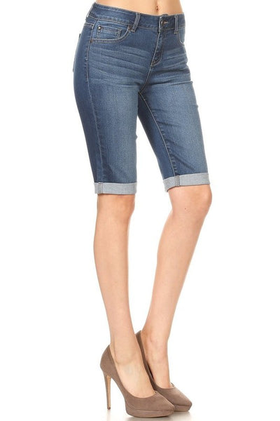 Denim Rolled Hem Bermuda Shorts | 2 Colors