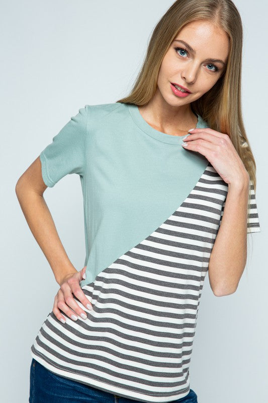 Catrine Color Block Striped Tee