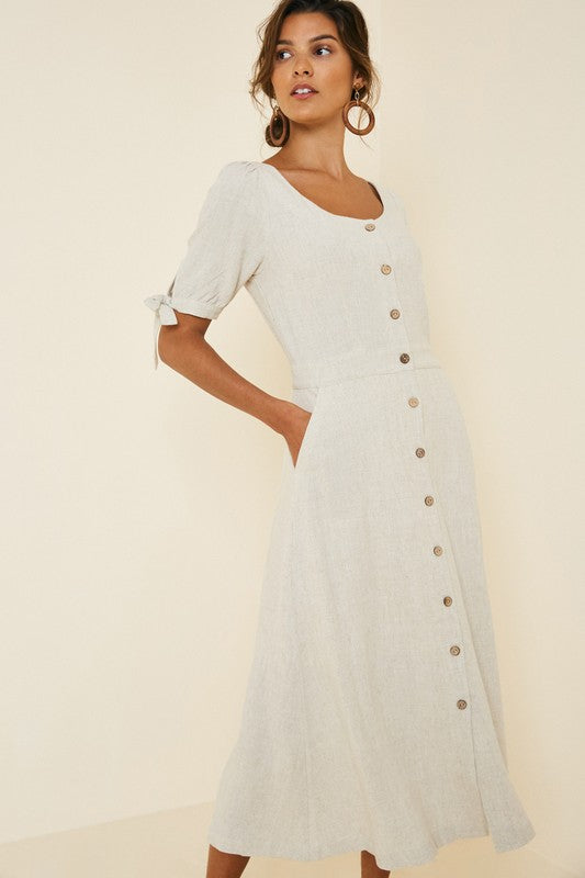 Linen Button Down Midi  |  S