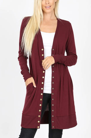 Laynee Duster Snap Button Cardigan  | 2 Colors