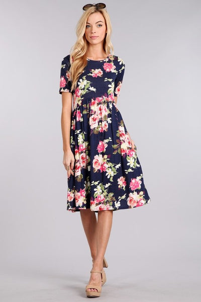 Tea length Floral Dress with Pockets