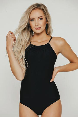 Black High Neck One Piece