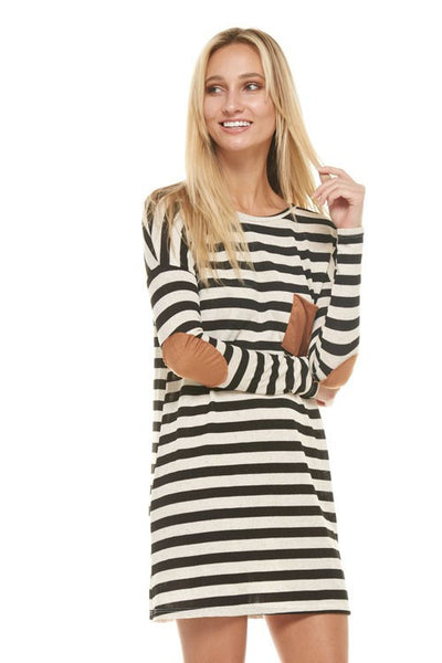 Striped Tunic with Suede Elbow Patch & Pocket