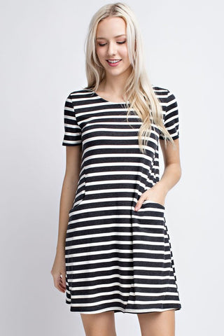 Striped Short Sleeve Tunic Dress  |  L