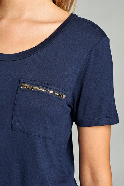 Spring Zipper Pocket Tee | 10 Colors