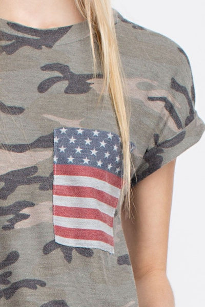 Camo Distressed Patriotic Tee