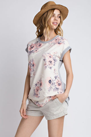 Blush Floral Distressed Tee  |  2 Colors