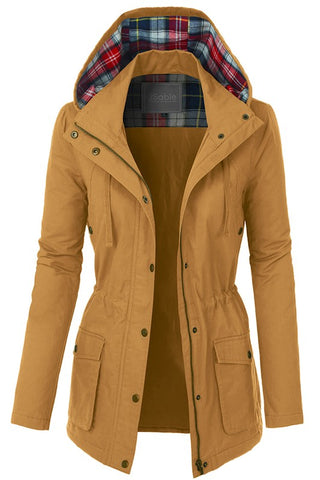 Anorak Military Jack with Plaid Hood - Mustard