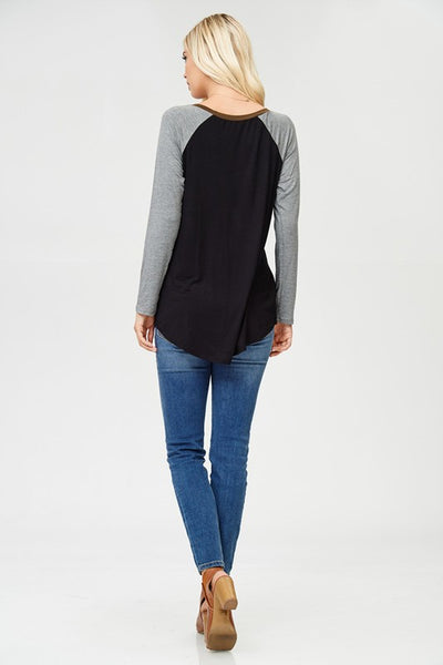 Black Baseball Tee with Olive Trim
