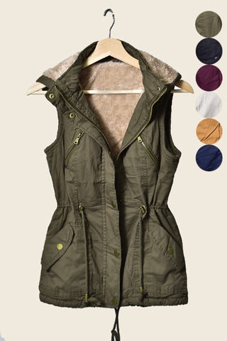 Utility Vest with Faux Fur Lining