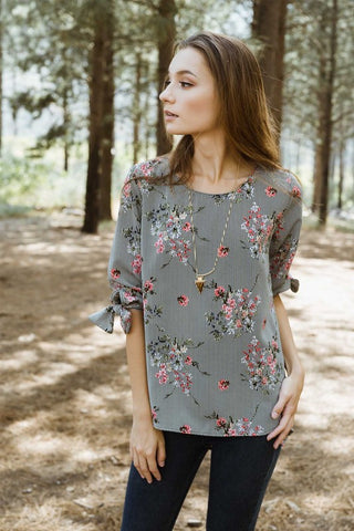 Pinstripe Floral Print High Low Blouse