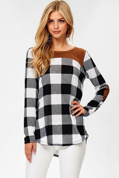 Black & White Plaid Sweater with Suede Accents