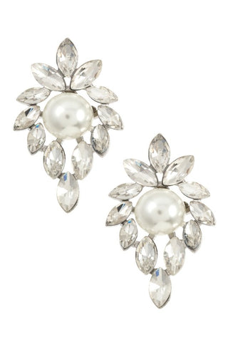 Pearl & Crystal Statement Earrings | Gold or Silver