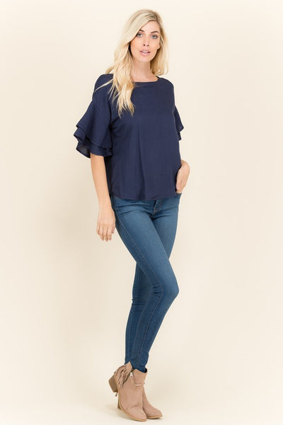 Ruffle Love Navy Blouse