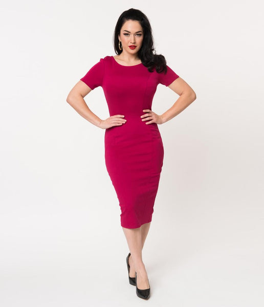 Unique Vintage 1960s Style Short Sleeve Stretch Mod Wiggle Dress  |  9 Colors  |  XS-5X