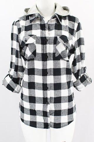 Black Plaid Button Up with Hood