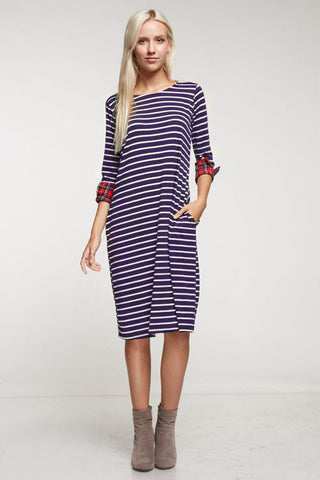Navy Stripe Pocket Dress with Plaid Cuffs