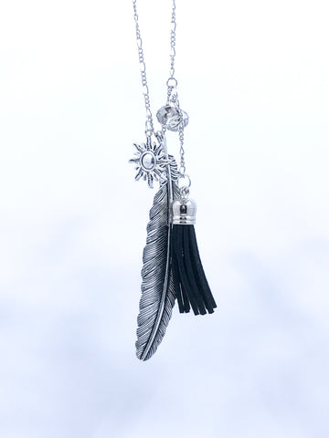Raven-Feather Witch Tassel Neckace