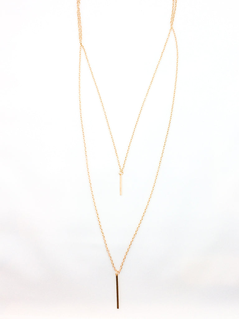 Double Bar Gold Necklace